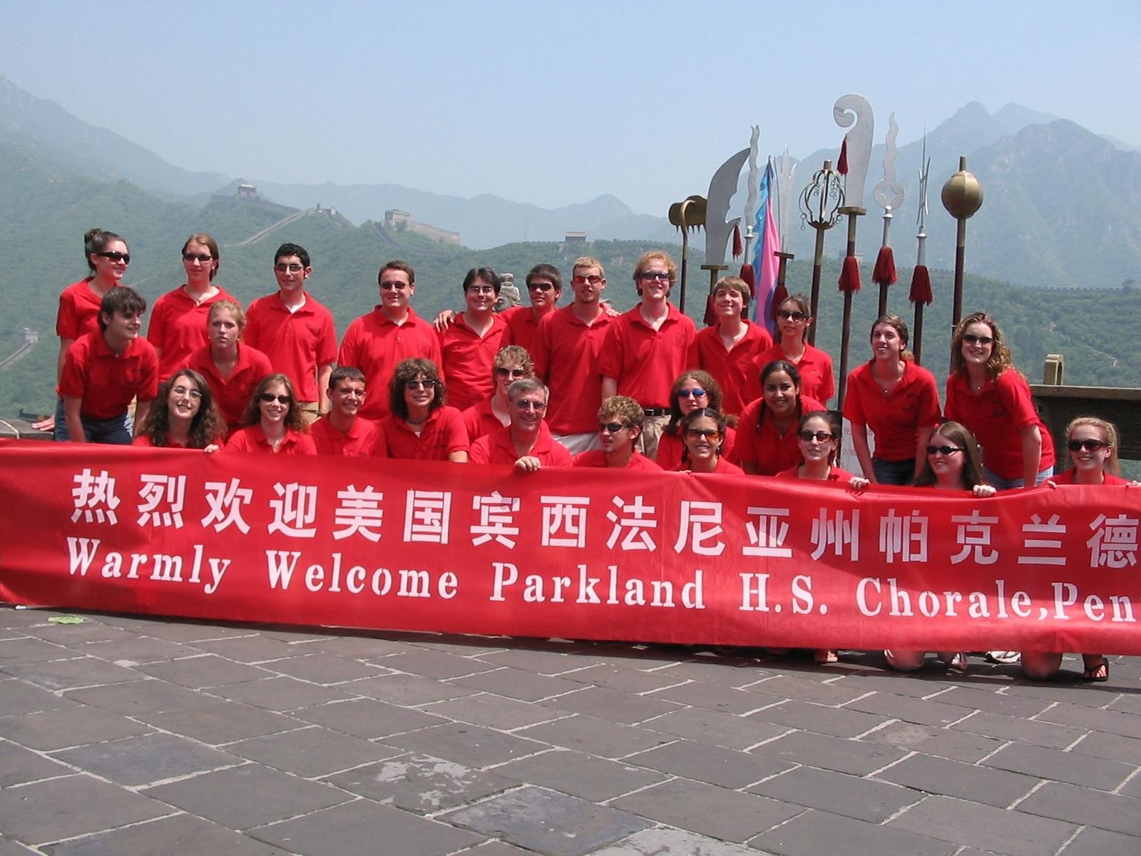 Parkland High School Choir on the Great Wall.