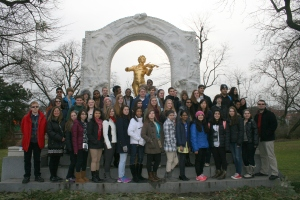 Walled Lake Orchestra at the Strauss Monument in Vienna
