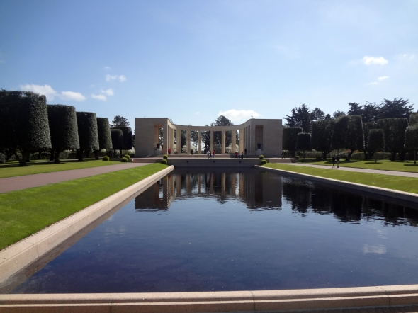 Looking toward the memorial fountain at the American Cemetery at Omaha Beach in Colleville-Sur-Mer, France.