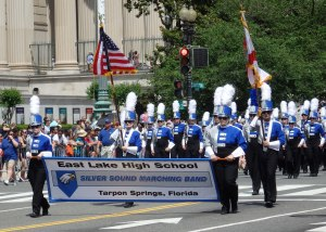 East Lake High School's Silver Sound Marching Band at the 2014 National Memorial Day Parade.